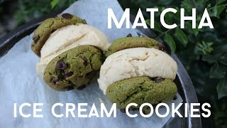 Matcha Ice Cream Sandwich + Green Tea Cookies Recipe - Vegan