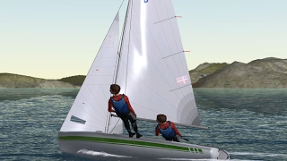 Sailing the 420 dinghy. Captured from the sailsimulator programme: Sail Simulator 5