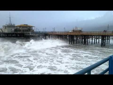 Santa Monica pier storm 2014