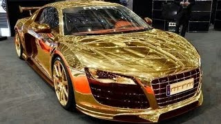 Most expensive car (GOLD CAR) in Dubai 2015 - Porsche Gold Car