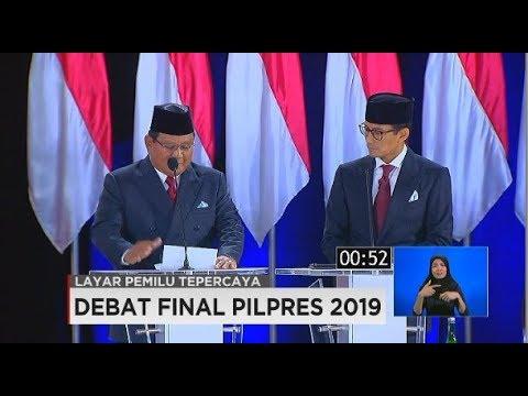 Closing Statement Jokowi-Maruf Amin Vs Prabowo-Sandiaga Uno Di Debat Final Pilpres 2019