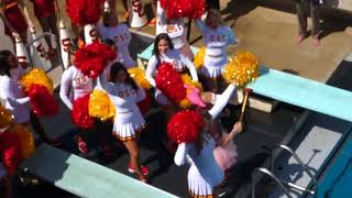 trojancandy.com:  A USC Cheerleader and Song Girl Do a Belly Flop at Swim with Mike