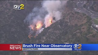 Firefighters Swarm Brush Fire Near Griffith Observatory