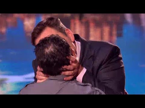 David Walliams kissing male contestant at Britain's Got Talent