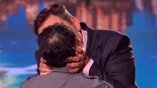 David Walliams kissing contestant at Britain's Got Talent