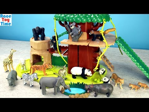 Safari Treehouse Adventure Playset Ania Animals Toys For Kids