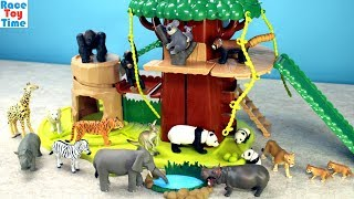 Safari Treehouse Adventure Playset Ania Animals Toys For Kids - Fun Learning Animal Names Video