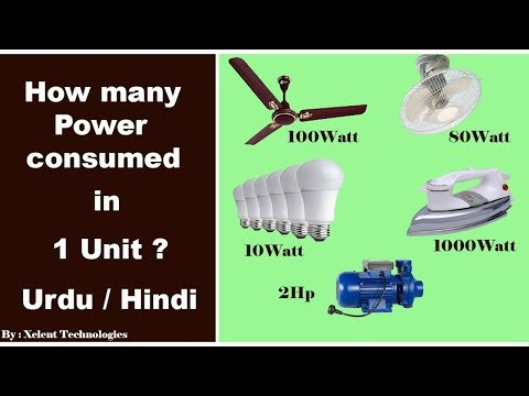 "Electric power consumption | How many power consumed in 1 unit ""Urdu"" ""Hindi"""