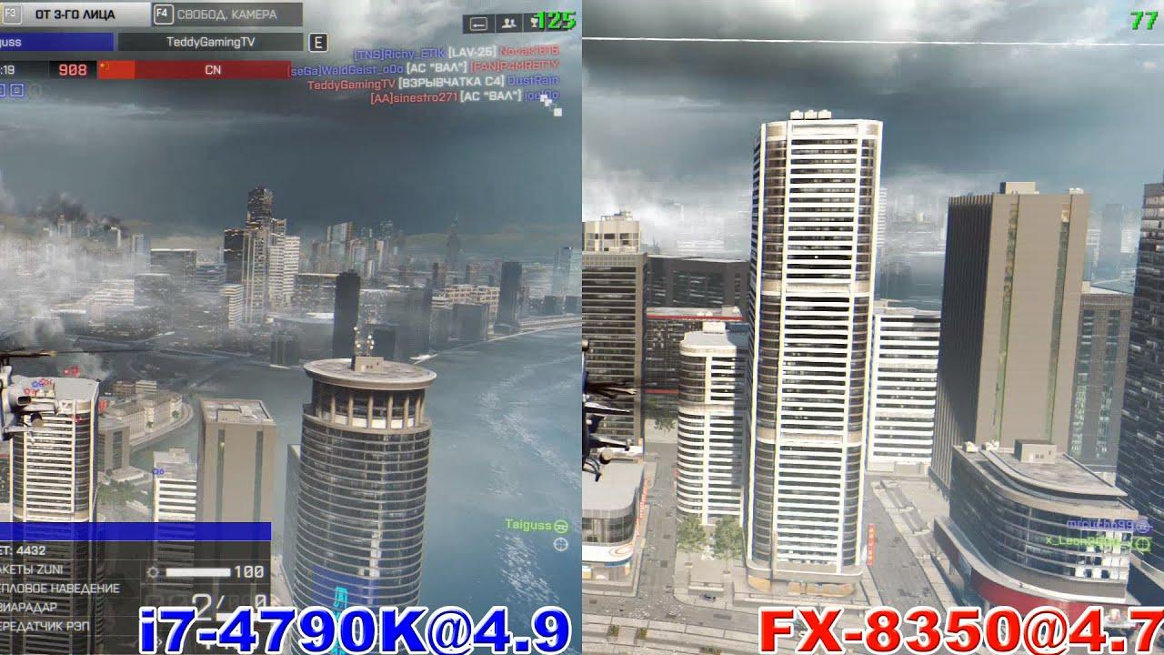 FX 8350 vs i7 4790K in CrossFireX 280x (Battlefield 4 Mantle 1080p60)