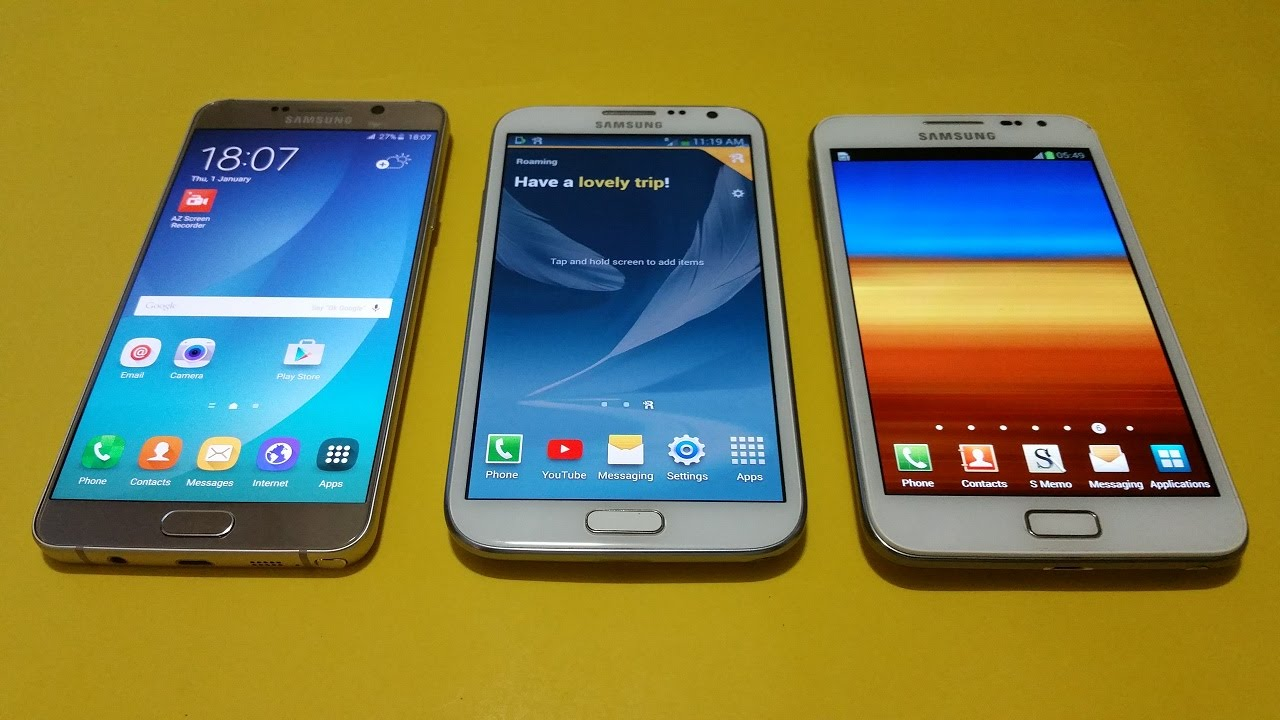 Samsung Galaxy Note 5 Vs Note 2 Vs Note 1 Speed Test Youtube