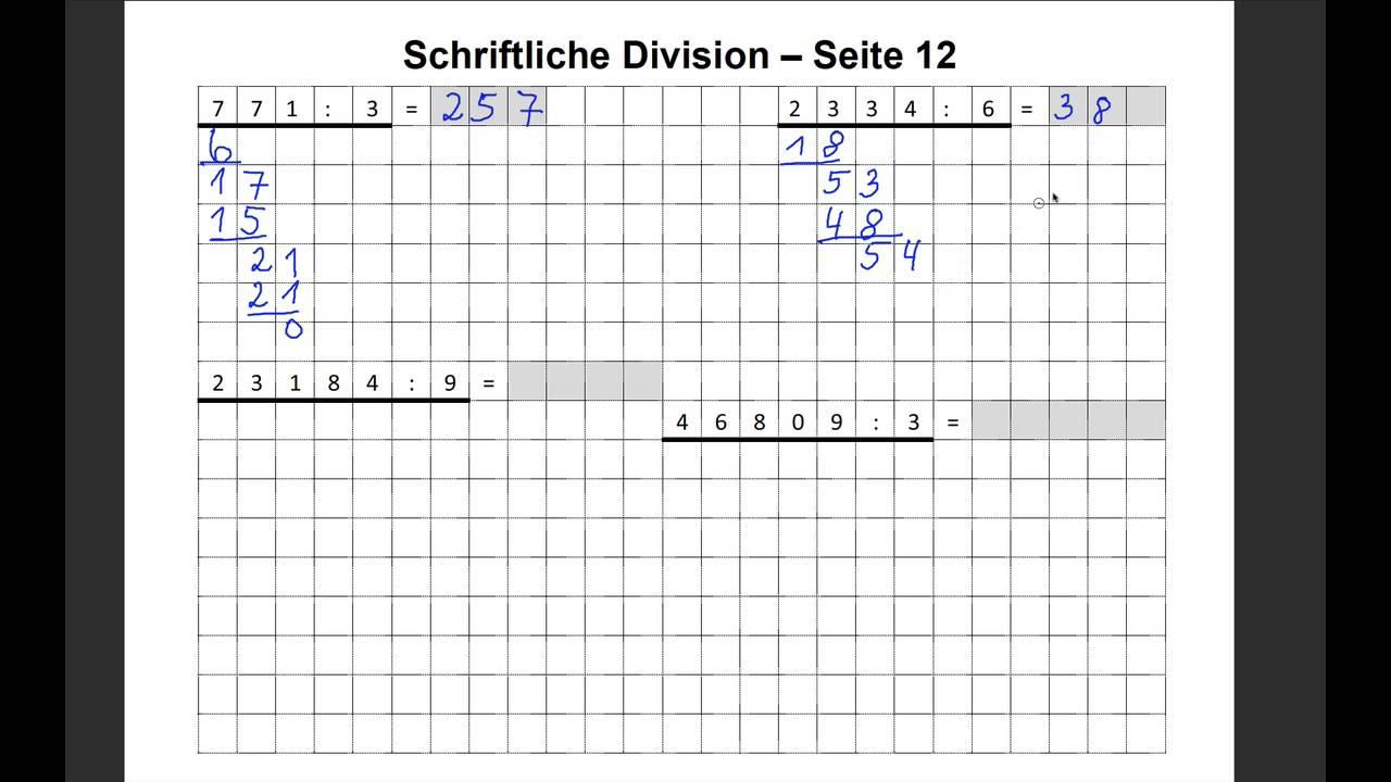 Schriftliche Division erklärt Matheaufgaben Division ohne Rest