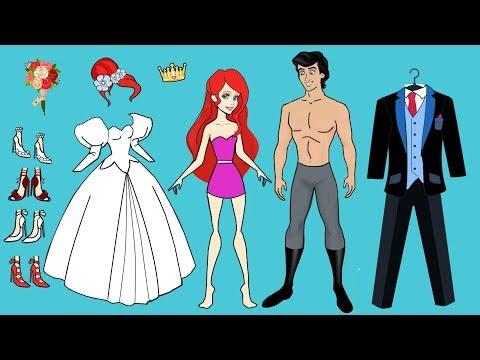 PAPER DOLL WEDDING DRESS FOR ARIEL MERMAID PAPERCRAFT HANDMADE DOLLS BRIDE & GROOM