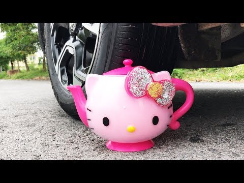 Crushing Crunchy & Soft Things by Car! - EXPERIMENT: HELLO KITTY VS CAR