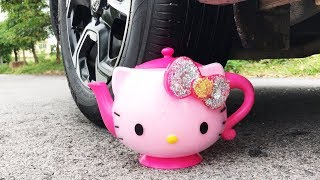 Crushing Crunchy amp; Soft Things by Car  EXPERIMENT HELLO KITTY VS CAR