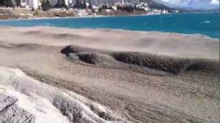 Pumice and ash floating on Lake Nahuel Huapi, Bariloche, Argentina