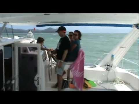 Catamaran Sailing Fast in 30 Knot + Winds - Leopard 47