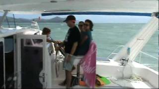 Catamaran Sailing Fast in 30 Knot + Winds - Leopard 47