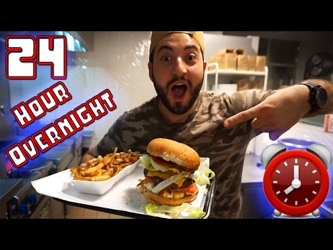 CAUGHT 24 HOUR OVERNIGHT CHALLENGE AT BURGER STORE! SNEAKING INTO STORE! CRAZY SATISFYING BURGER!!