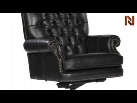 Hekman Executive Tilt Swivel Tufted Office Chair   Black 7 9253B