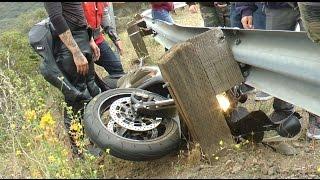 Honda Motorcycle Crash,  No Injury but Bike a Mess