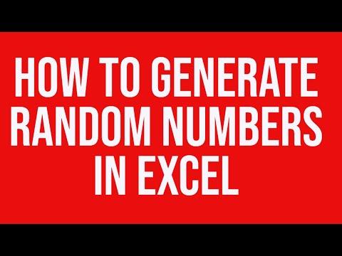 random number generator in excel