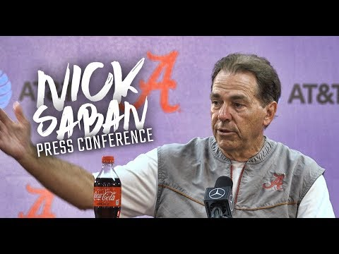 Nick Saban addresses the media ahead of Alabama's trip to College Station