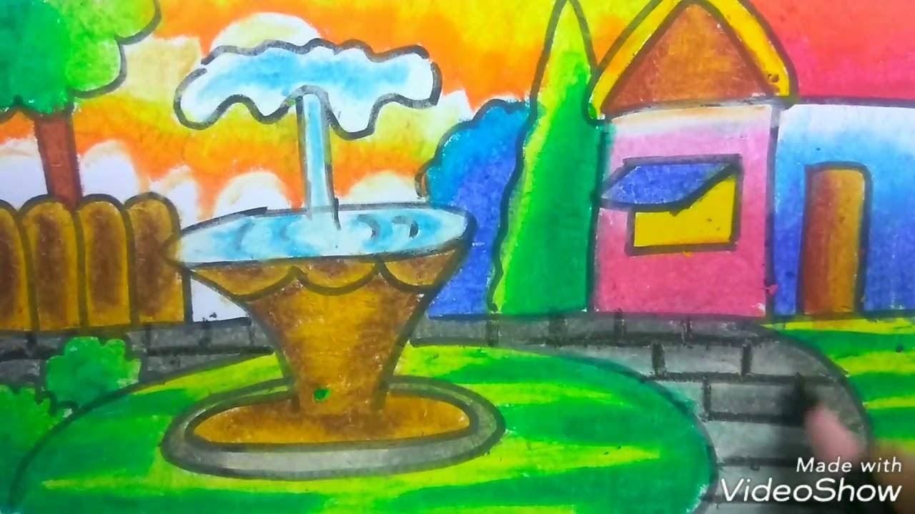 Cara menggambar taman air mancur dan mewarnai dengan crayon seperti juara lomba