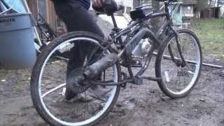 Test ride! Putting Dirt Bike Motor On Bicycle (part 3/4)