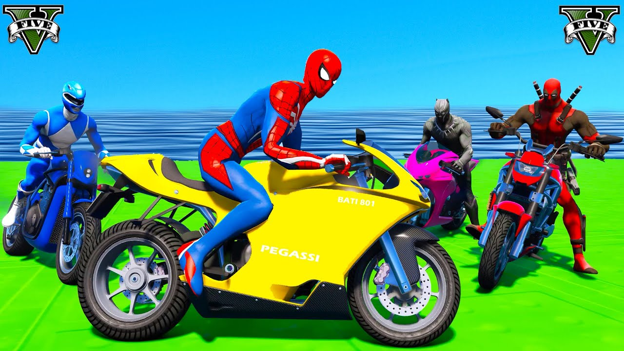 Spider man Motorcycles Jumps Over Excavator! Captain America, Deadpool, Black Panther