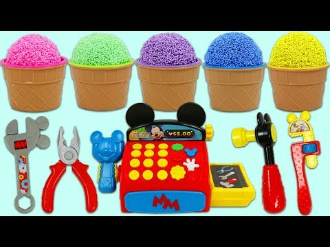 Play Foam Ice Cream Surprise Cups Opening Using Disney Mickey Mouse Pretend Tools!