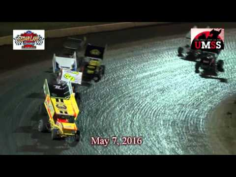 5-7-2016 UMSS Winged Sprints Cedar Lake Speedway