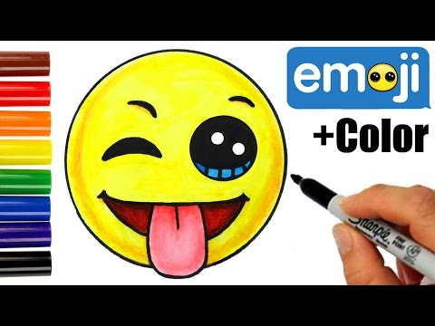 How to Draw + Color Emoji w/Winking Eye, Tongue Out Face step by step EASY