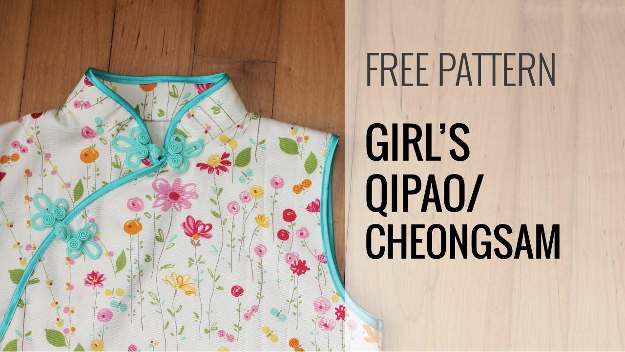 Girls qi paochinese dress sewing tutorial part 1 youtube jeuxipadfo Choice Image
