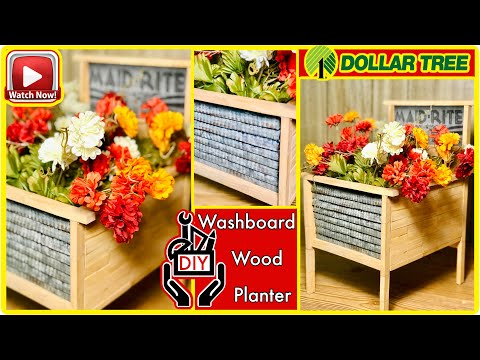 DIY Dollar Tree Washboard Flower Bed - OutDoor Porch Decor - All Seasons - Farmhouse Rustic Decor