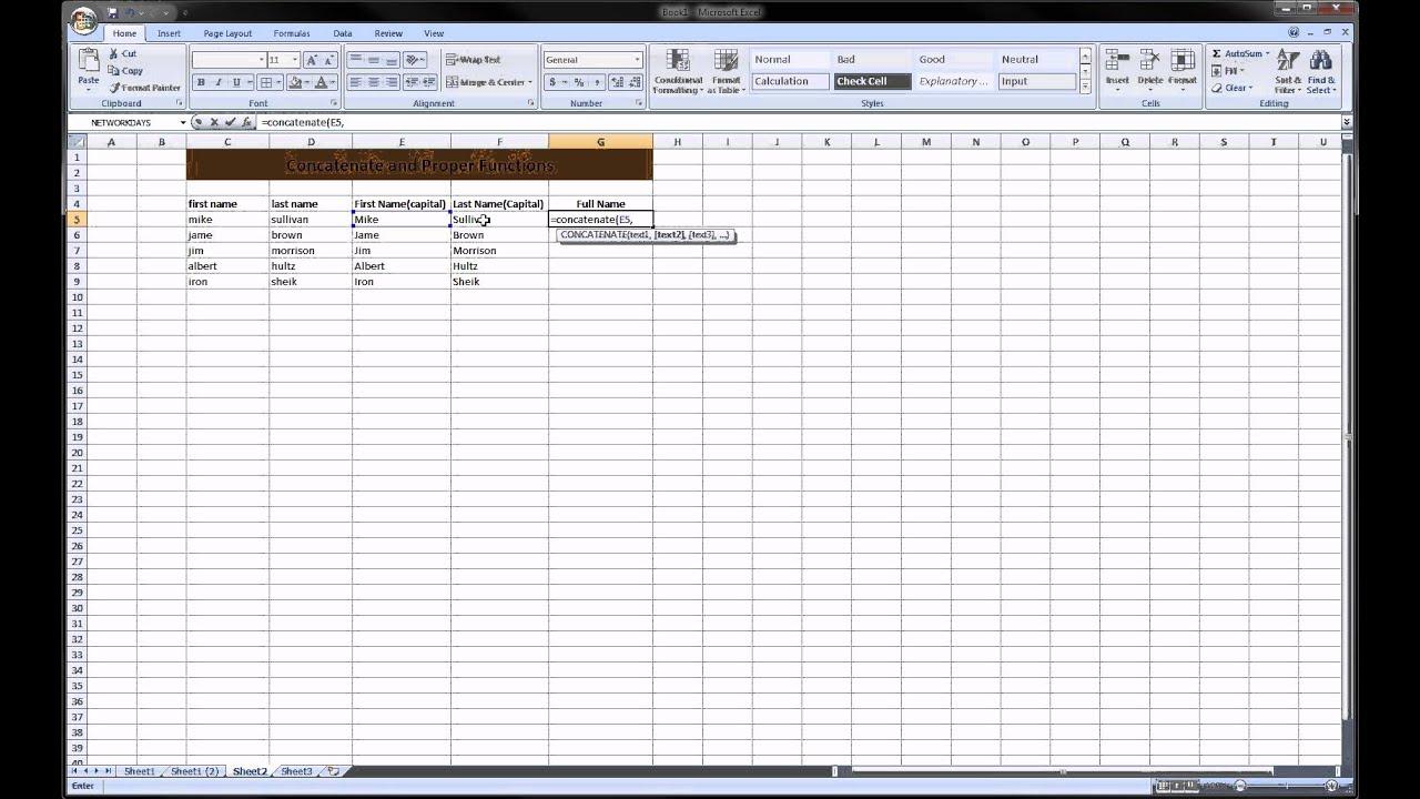 Excel - Concatenate & Proper (text formulas)