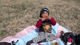太陽@4歳 今日は山に登ってお弁当を食べました。 お弁当はバムとケロの...