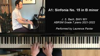 A:1 Sinfonia no. 15 in B minor (ABRSM Grade 7 piano 2021-2022)
