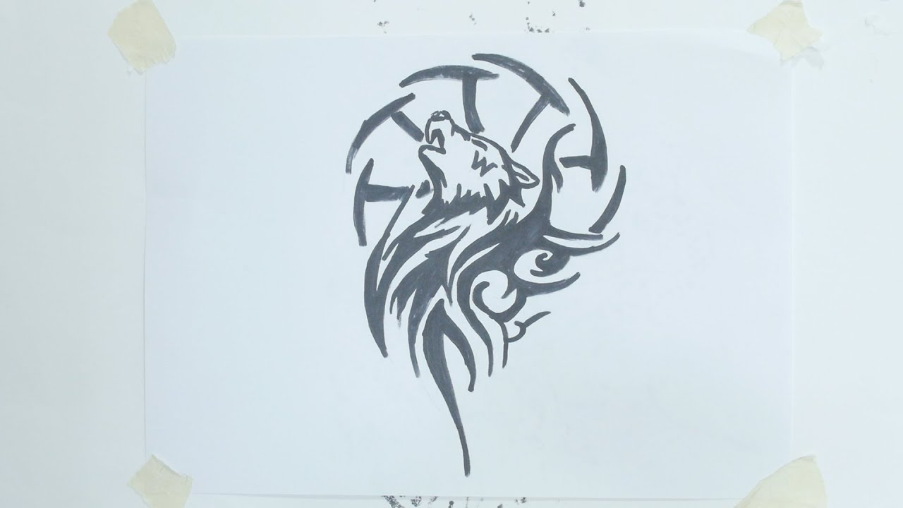 How To Draw Wolf Head Tribal Tattoo #4