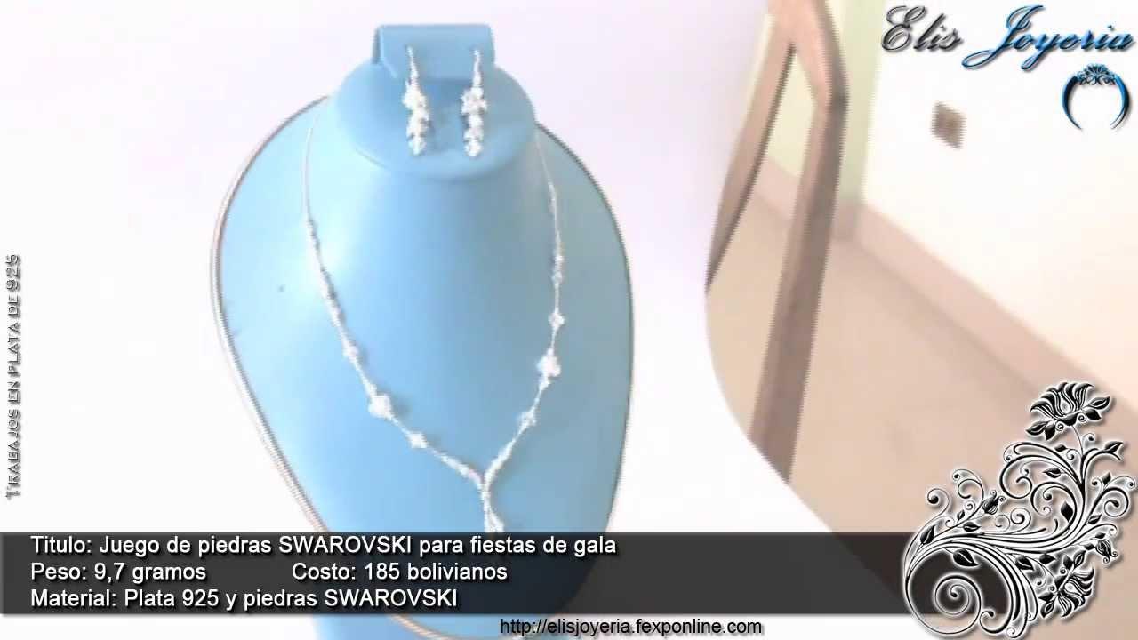 bde573570178 Elis Joyeria - Juego de piedras SWAROVSKI para fiestas de gala - joyeria  fina boliviana en plata 925
