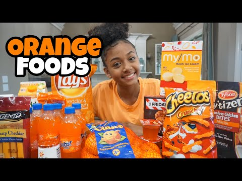 I Only Ate Orange Foods for 24 Hours Challenge | LexiVee03