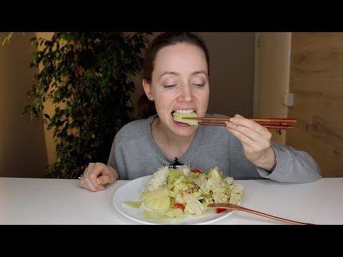 ASMR Whisper Eating Sounds |  Rice, Vegetables & Salad