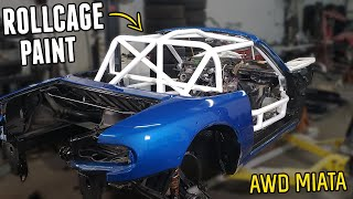 homepage tile video photo for Painting the ROLLCAGE (& other bits) on the AWD MIATA! It Looks AWESOME!