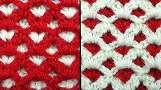 Двухсторонний узор для шапочки Crochet stitches   Вязание крючком   111