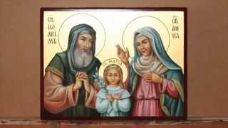 Написание иконы Св. Иоаким, Св. Анна, Дева Мария.