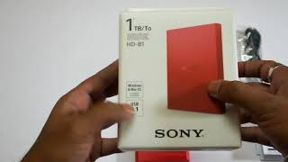 Unboxing Sony HD-B1 1TB Hard Disk Drive Red and Review