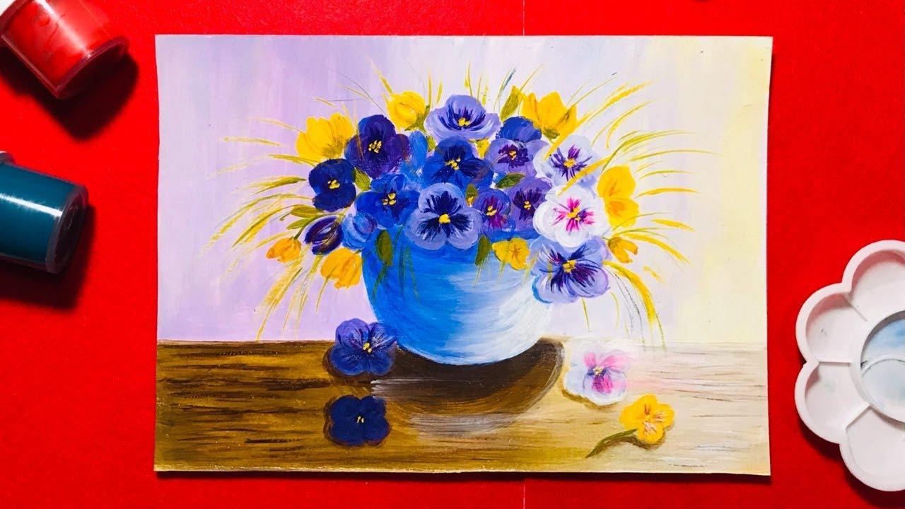 Цветы анютины глазки акриловыми красками. Рисование цветов ...