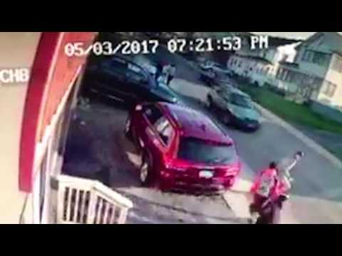 The video shows the boy being knocked to the ground by the impact.Officials said…