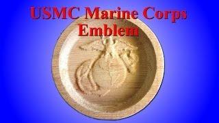 Sold - 3d Usmc Emblem 3 Dimensional Redwood Carved Wood