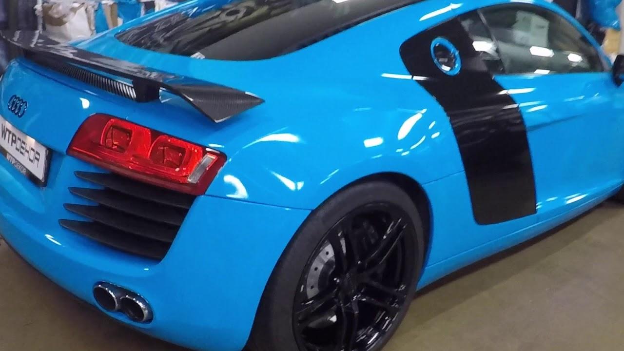 Full wrap on Audi R8, Avery Dennisons Gloss Light Blue - YouTube
