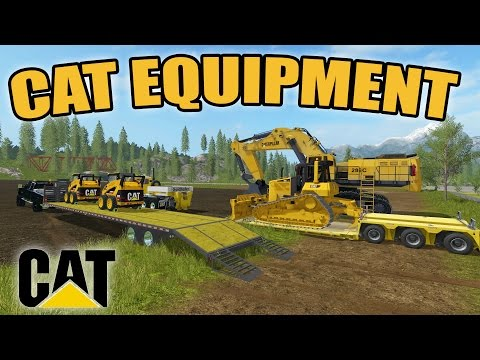 FARMING SIMULATOR 2017 | HAULING CAT EQUIPMENT | NEW DOZER & EXCAVATOR